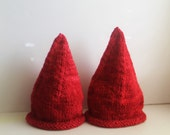 Made to order Hand Knit Scarlet Red Merino Wool Scandinavian Gnome Hat with Tassel Option