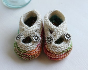 Made to Order Hand Knit Cross-Strap Merino Wool Mary Jane Booties, 0-3 or 3-6 Months