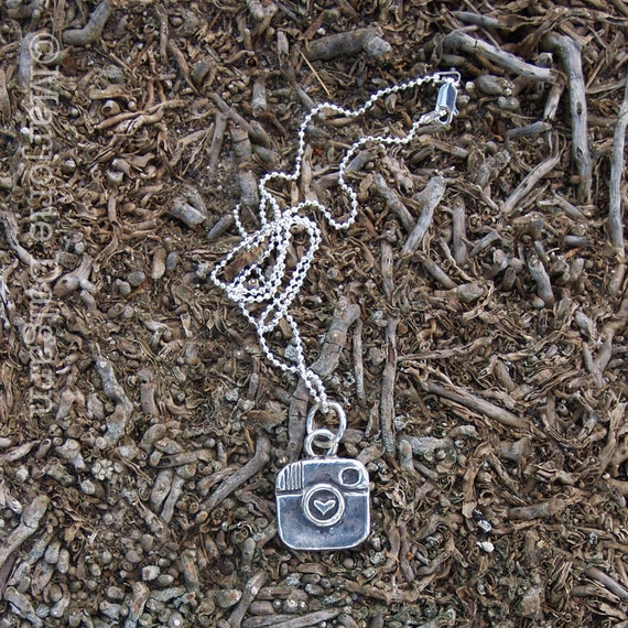 Hashtag Instagram Camera Logo Fine Silver Pendant with Sterling Silver Chain