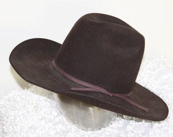 Cowboy Hat Gary's House of Hats in Houston Vintage Felt 10x Beaver Dark Brown