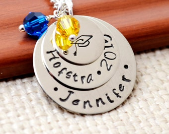 Personalized Graduation Necklace Class of 2015, Hand Stamped Gift for Graduation, Graduation Cap Necklace, Hand Stamped Jewelry