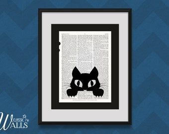 WHIMSICAL Mid Century CAT ART Vintage Encyclopedia Page Print Kitten Wall Decor Nursery Decor Upcycled Baby Shower Gift Halloween Decoration
