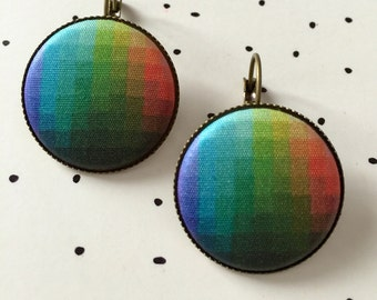 """Color Theory Fabric Button Earrings 1"""" Silver, Unique, Unusual"""