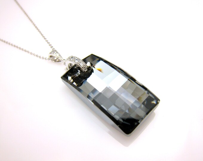 swarovski focal silver night metallic rectangle urban pendant with silver plated chain necklace prom mothers day gift bridesmaid