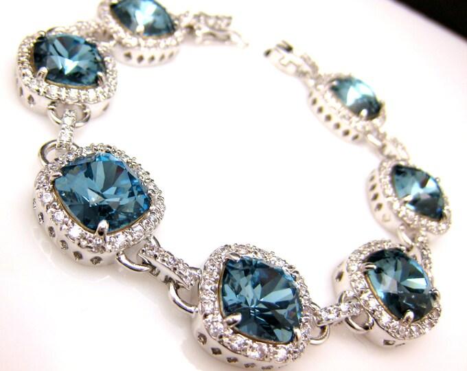 Wedding jewelry bridesmaid bracelets bridal christmas prom gift pageant denim navy blue square cushion cut swarovski rhinestone crystal