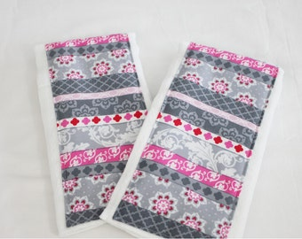 Pink and Grey Striped Shabby Chic Burp Cloths - Set of 2