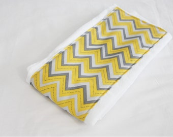 Yellow and Grey Chevron Baby Burp Cloth