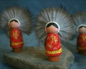Inupiaq Doll ornament - Small - red and yellow calico
