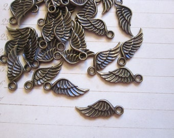 30 wing charms - antiqued brass finish - 16mm