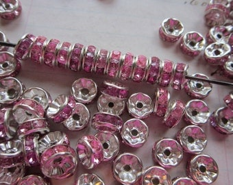 50 crystal spacers - PINK, silver tone metal - 7mm - destash