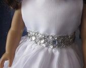 Communion dress with fancy trim will fit 18 inch dolls such as American Girl