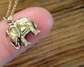 Elephant Bronze Charm on 14K Gold Filled Necklace