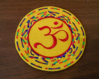 5 inch embroidered red with rainbow stripes OM / AUM iron on patch