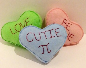 Felt candy conversation heart saying plush mini pillow - Customizable with your choice of color and saying