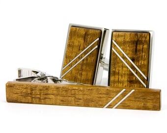 Wood Cufflink Tie Bar Set - Hawaiian Koa Silver Cufflink Tie Bar Set - Silver Inlay - Wedding, Anniversary, Father's Day, Graduation, Groom