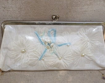 LAST CALL Vintage 1950s 60s White Vinyl Handbag Clutch with Fabric Flowers and Velvet Ribbon Clear Plastic 50s 1960s Clutch Bag