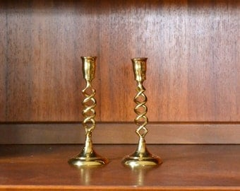 vintage mid-century double helix brass candlesticks