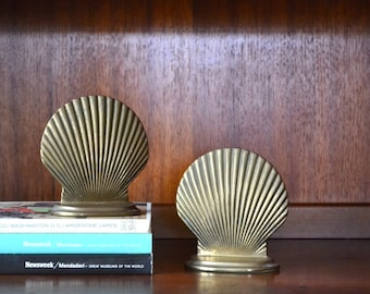 vintage brass scalloped seashell bookends