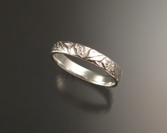 White Gold 14k 3.6mm Vine and Flower pattern Band wedding ring made to order in your size Victorian wedding band