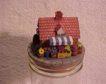 "Mums Flower Shop 3"" Candle Jar Topper - Never Used Our America in Original Box"
