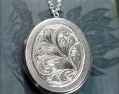 1979 Large Oval Sterling Silver Locket Necklace, Vintage Birmingham Pendant - Billowing Vine