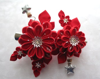 The Red Giant Kanzashi Flower Hair Clip Mountain Musings