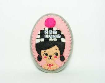 A Miss Who Loves Word Play Felt Brooch / Fun with Words Felt Brooch / Crossword Girl Felt Brooch / Miniature Portrait Felt Brooch