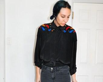 "1980s Western Fringe Tassle Beaded Embellished Designer ""FORTINA"" Black Dramatic Blouse Shirt"