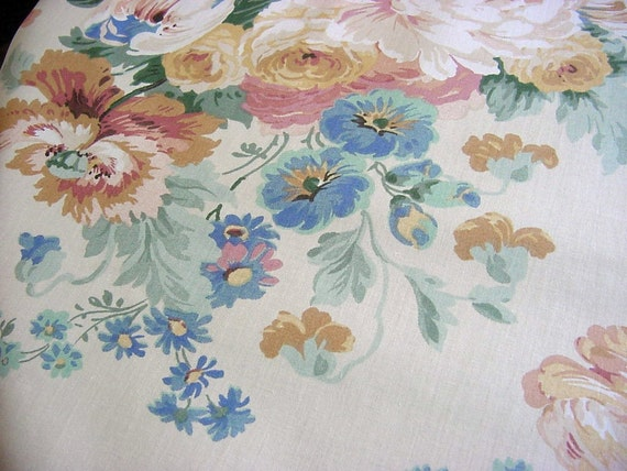 Large Floral Vintage Decorator Fabric Gorgeous Rose Peony