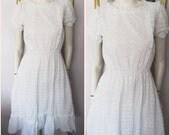 Vtg.70s White Broderie Anglaise Eyelet Ruffle Prairie Dress.S/M.Bust 36-38.Waist 22-32