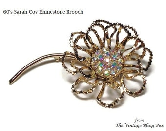 Sarah Cov Gold AB Crystal Flower Brooch with Pave Set Rhinestones in Textured Open Metalwork - Vintage 1960's Designer Costume Jewelry