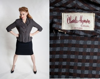 Vintage Charles Hymen Suit Jacket - Blue Brown Check Peplum - 1940s Fashions