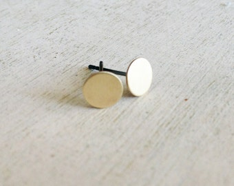 Gold dot earrings, gold brass circle earrings, gold dot earring posts, golden dot earrings, tiny dot earring posts, minimal earrings