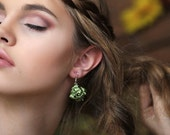 Olive green fabric bead Earrings