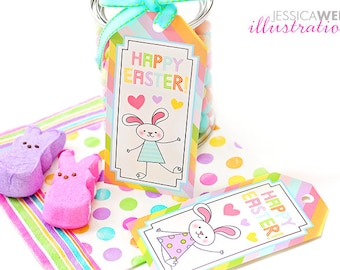 Happy Easter Bunny Printable Gift Tags, Easter Party Favor Tags, Easter Bunny Printable Download, Easter Bunny Digital Tags, Happy Easter