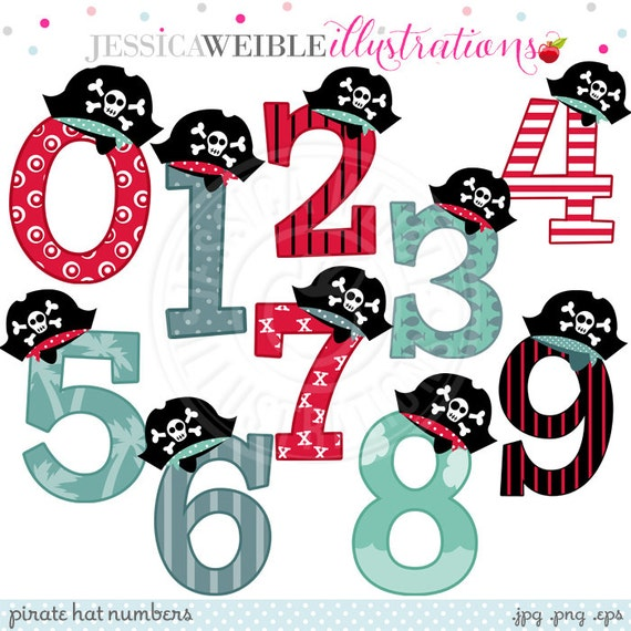 Pirate Hat Numbers Cute Digital Clipart - Commercial Use OK - Pirate Clipart - Numbers with Pirate Hats, Pirate Theme