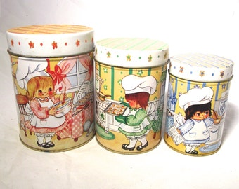 Vintage Canister Set, 1985 House of Lloyd, Set of 3 Nesting Canisters