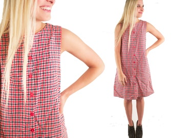 SUMMER 60s Handmade Knit Plaid Flannel Red Navy White Flannel Prep School Girl Mod Retro Button Up Shift Dress Houndstooth Wool Preppy S M