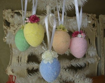 Glittered Egg ornaments Shabby Chic Cottage Easter egg ornaments home decor ornaments eggs with flower embellishments glitter ornaments