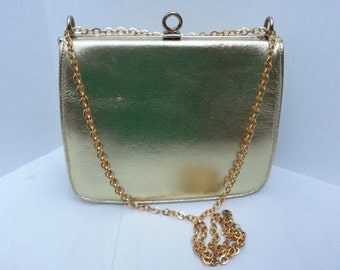 "Vintage Gold Leather  ""Nicholas Reich""  Evening Purse"