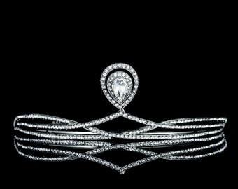 Magnificent Art-Deco Rhinestone Bridal Tiara Crown