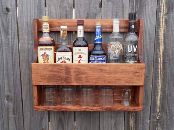 Wall Mount Liquor Rack With Shelf Which Holds Up To 6 Bottles And 5 Glasses  Red - Wall Mount Liquor Rack With Shelf Which Holds Up To 6 Bottles