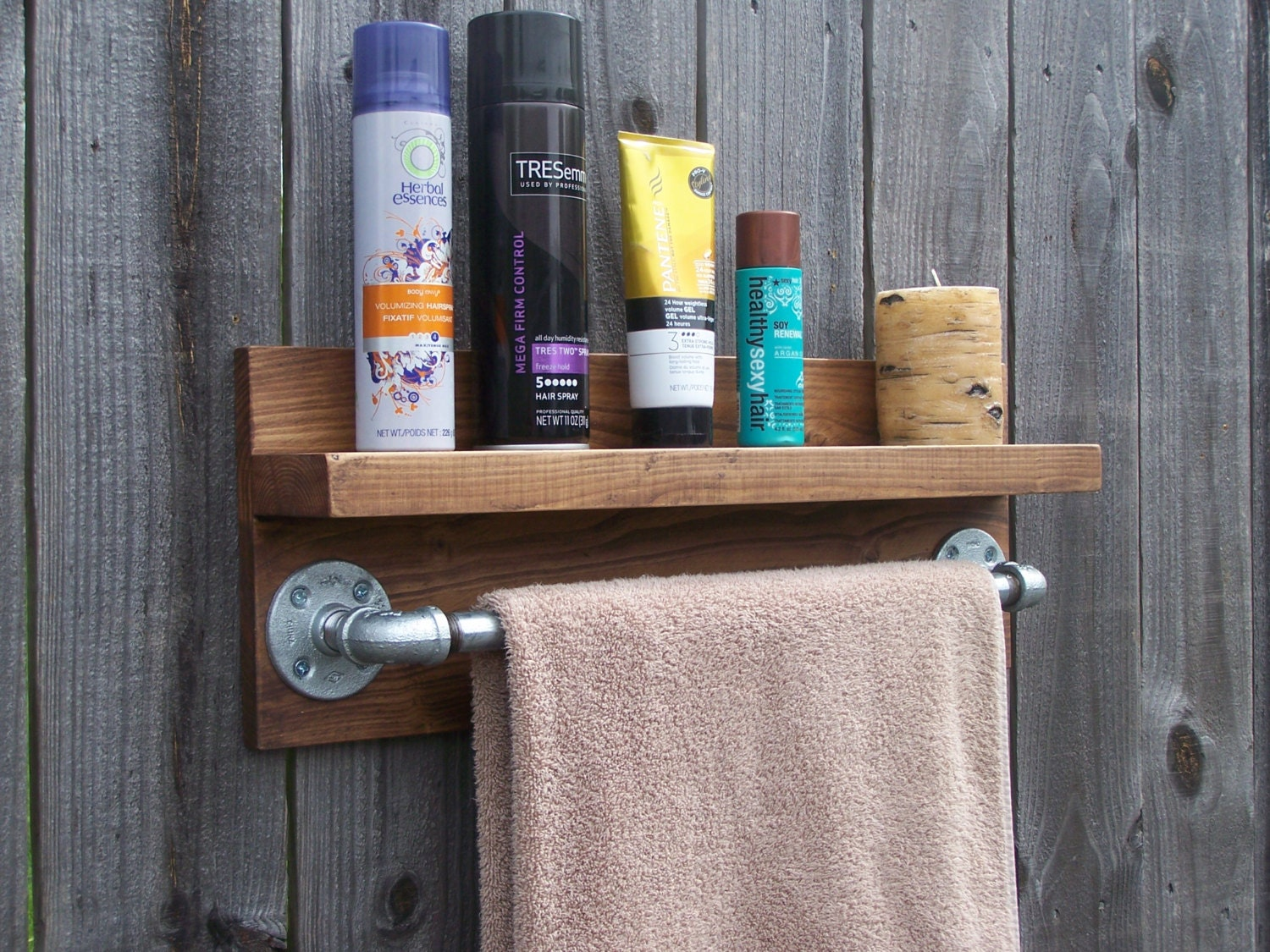 Rustic Industrial Bathroom Wall Shelf With 18 Inch Metal Towel