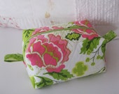 Cosmetic Bag, Makeup Bag, Zippered Pouch, Floral, Pink