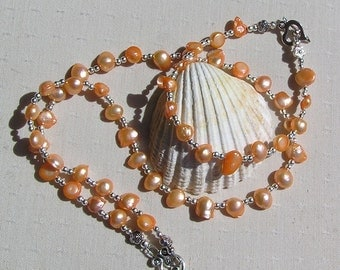 "Necklace & Bracelet Set, Apricot Freshwater Pearl and Sterling Silver ""Kashmir"", Pearl Bracelet, Pearl Necklace, Pearl Twinset, Silver"