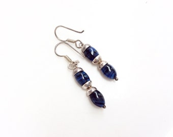 sterling silver earrings blue gemstones dangles pierced earrings