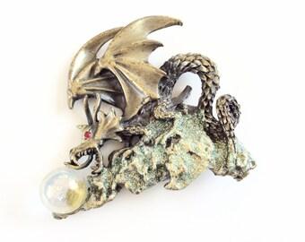 JJ Pin JJ brooch Dragon on glittered mountain rocks vintage designer jewelry