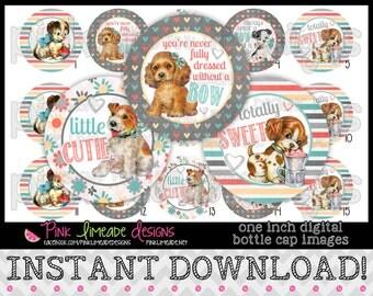 """Vintage Puppies - INSTANT DOWNLOAD 1"""" Bottle Cap Images 4x6 - 766"""