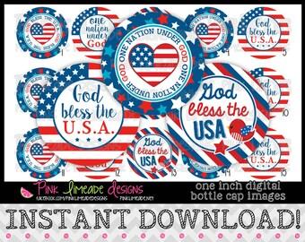 "God Bless the USA - INSTANT DOWNLOAD 1"" Bottle Cap Images 4x6 - 815"