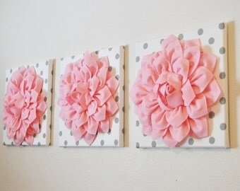 "THREE - Wall Flower Hangings - Baby Pink Dahlias on White with Gray Polka Dot Canvases 12 x12"" Canvas Wall Art- Baby Nursery Decor"